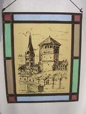Düsseldorf Altstadt Glasbild Fensterbild Hinterglasmalerei Bleirahmen - Sammlers