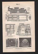 Lithografie 1896: Bäder I/II. Innen-Architeltur Einrichtung Stühle Lampe baden