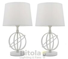 NEW PAIR OF MERCATOR SATURN BEDSIDE TABLE LAMPS WHITE METAL BASE TC SHADE A67111