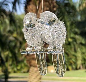 "KURT ADLER Glass Crystal DOUBLE MACAW Bird Christmas Ornament 3"" MCM"