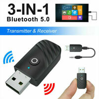 3 In 1 Bluetooth 5.0 USB Audio Transmitter Receiver Adapter For TV PC Car AUX AU