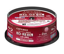 20 Mitsubishi Verbatim Rewritable Bluray Discs BD-RE DL 50GB 2x Inkjet Printable