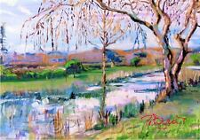 """NEW PETE DAVIES ORIGINAL """"Steyning, West Sussex"""" river COUNTRY LIFE OIL PAINTING"""