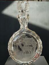 Älteres Kristall Schnupftabakglas - Bixl - Graviertes Wildmotiv !!! Nr. 130