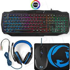 PC Gaming Deutsches Tastatur LED Regenbogen Maus 3200 DPI Mauspad Headset Set