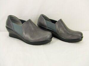 Alegria FRA-883 Grey Glaze Leather Slip-On Wedge Womens Size 11 Medium ~ New
