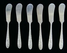 Lot of 6 National Silver NARCISSUS Sterling Silver Flat Handle Butter Spreader