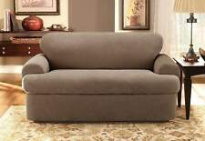 NEW Stretch Pique scatterback Loveseat Slipcover Taupe t-cushion by sure fit