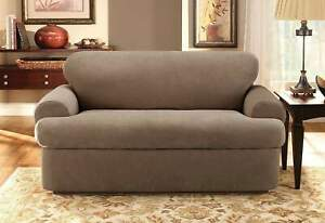 NEW Stretch Pique 3 piece scatterback Sofa Slipcover Taupe t-cushion by sure fit