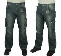 Mens Bnwt Combat Cargo Denim Jeans Designer Stylish Casual Latest Pants 30-60