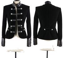 Women Gothic Coat Black Leather Accents Double-breasted Women Velvet Jacket Coat