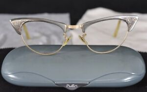 Vintage SHURON Made USA 1950s Eyeglasses 46-20 Grey Combo 1/10 12K Gold