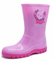 GIRLS PINK PEPPA PIG WELLIES RAIN SPLASH SCHOOL INFANT WELLINGTON BOOTS UK 4-10