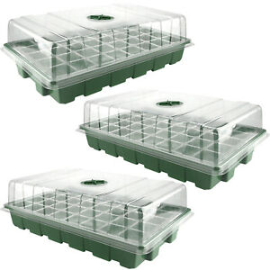 With Humidity Vented Domes Plant Growth Tools 3pcs PP Sturdy Plant Box