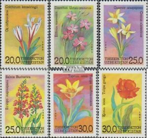 Uzbekistan 35-40 (complete issue) unmounted mint / never hinged 1993 Locals Flor