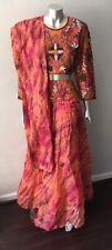 Tye Dye Beaded 3 piece Silk Long skirt Pink Indian Festival Party Suit Size S