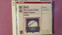 J. S. BACH - THE COMPLETE PARTITAS ITALIAN CONCERTO. 4 DUETS. DOUBLE CD PHILIPS