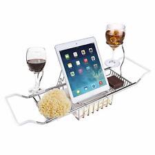 Extendable Bathtub Caddy Metal Bath Tub Rack Tray Cloth Book/Pad/Tablet Holder