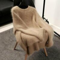 Women Cashmere Mink Fur Pullover Sweater Vintage Loose Stretch Tops Jacket Vogue