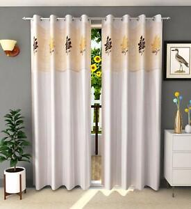 2 Piece Off White Eyelet Door Curtains with Floral Net Set 7 Feet