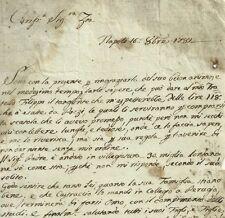 Napoli Lettera Prefilatelica Settecentesca per Saldare il Fratello Tedioso 1781