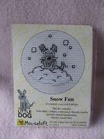 MOUSELOFT STITCHLETS CROSS STITCH KIT ~ LITTLE DOG ~ SNOW FUN ~ NEW