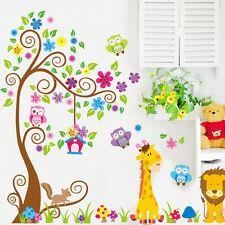 Wandtattoo Wandsticker Wandaufkleber Eule Wald Tiere Baum Bunt Kinderzimmer  #78