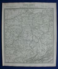 NORTH AMERICA VIII, OHIO, KENTUCKY, VIRGINIA, original antique map, SDUK, 1844