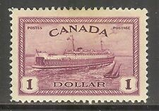 Canada #273, 1946 $1 Train Ferry PEI - Peace Issue, Unused Hinged