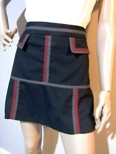 CUE sz 10 a-line stretch SKIRT with pockets and contrast geeometric pattern trim
