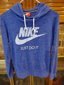 Nike Womens Small Sportswear Gym Heather Blue Pull Over Lightweight Hoodie Logo