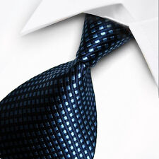 UK0070 Blue Navy Striped 100%Silk Classic JACQUARD Woven Men's Tie Necktie