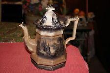 Antique TJ&J Mayer Pottery Ironstone Pitcher Teapot-Rhone Scenery-VERY OLD