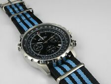 22mm Nylon Blue/Black Nato Watch Strap Quality Military Divers G10