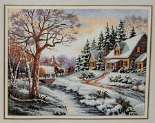Winter Outing Sunset Counted Cross Stitch Kit House Snow Village Horse Sleigh