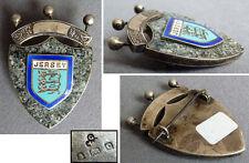 Broche armoiries de JERSEY en argent massif + émail 19e siècle 1898 silver