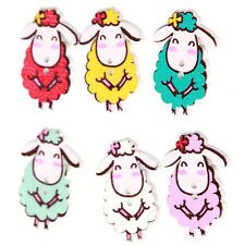 250pcs Wholesale Mixed Colorful Cartoon Sheep Animal Wooden Sewing Buttons LC