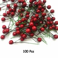 100X Artificial Red Holly Berry Christmas Decor On Wire Bundle Garland Wreath BF