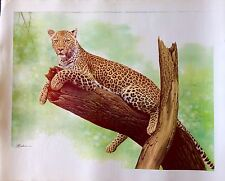 Original Art Rare Leopard Cat Wild Animal Lithograph By Florida Artist Leehan