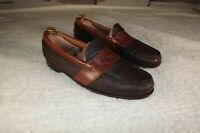 H.S. Trask Mens Leather Loafer Slip On Oxfords Shoes Dark Brown Size 12 M