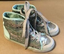 Girls Tcp Lt. Blue & Silver Sequinned High Top Tennis Shoes Size 11