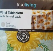 Vinyl Tablecloth Round Oval 60 in Sunflowers Seat 4 - 6 Flannel Back Summer New