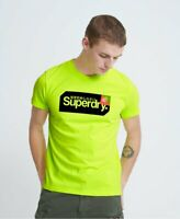 Superdry Mens Highlight Yellow Core Logo Tag Tee T Shirt Size XL 42""