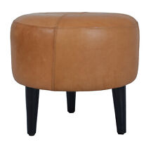 Indian Handmade Designer Genuine Pure Tan Leather With Wooden Leg Base Stool