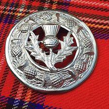 """Cc Keltische Brosche Chrom 3 """"/ Schottenrock Fly Plaid Distel Wappen Emblem"""