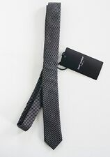 NWT Authentic SAINT LAURENT Black Gray Striped Silk Wool SKINNY Tie