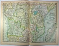 Original 1897 Map of Central Africa by The Century Company. Antique