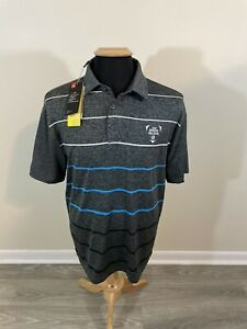 NWT Under Armour The Playoff Polo Gray Striped Short Sleeve Golf Shirt ~Large