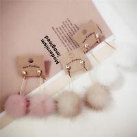 Soft Ball Pompom Long Earrings Drop Dangle Earring Women Ear Stud Jewelry VODFK