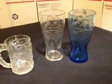 McDonald's Promo Glasses~3 Glass Lot~ Batman Mug 1995 ~ Clear 1992 ~ Blue 1961